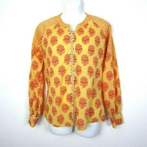 Sundance XS Yellow Red Pink Cotton Button Top